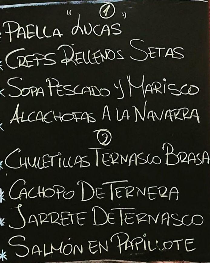 Menú del día domingo 20 de diciembre.Bebida,postre y pan a 15€