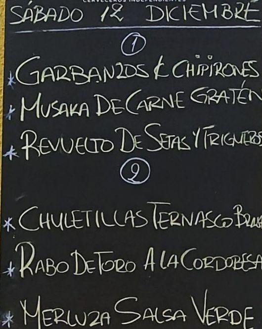 Menú del día sábado 12 de diciembre para llevar. Bebida, postre y pan a 15€