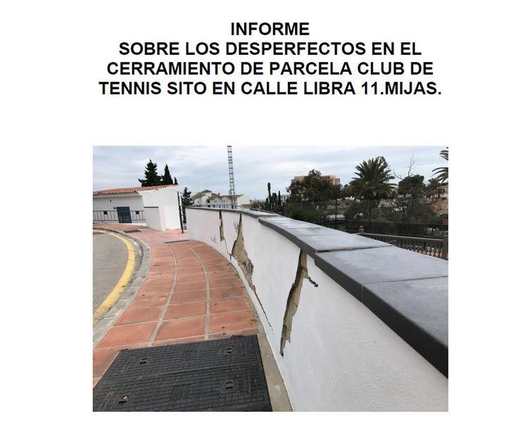 Informes sobre desperfecto en cerramientos de parcelas en Málaga