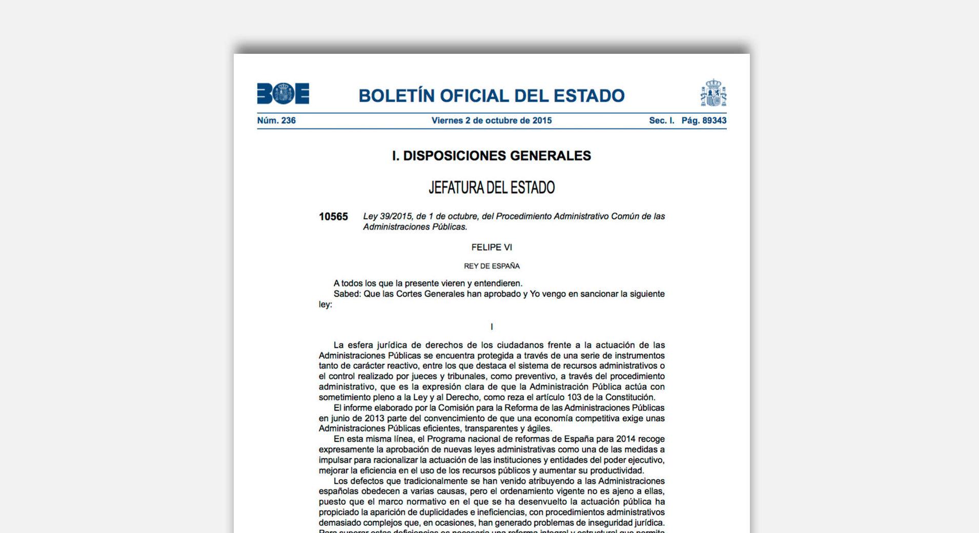 El próximo 2 de octubre entra en vigor la LEY 39/2015, DE 1 DE OCTUBRE,