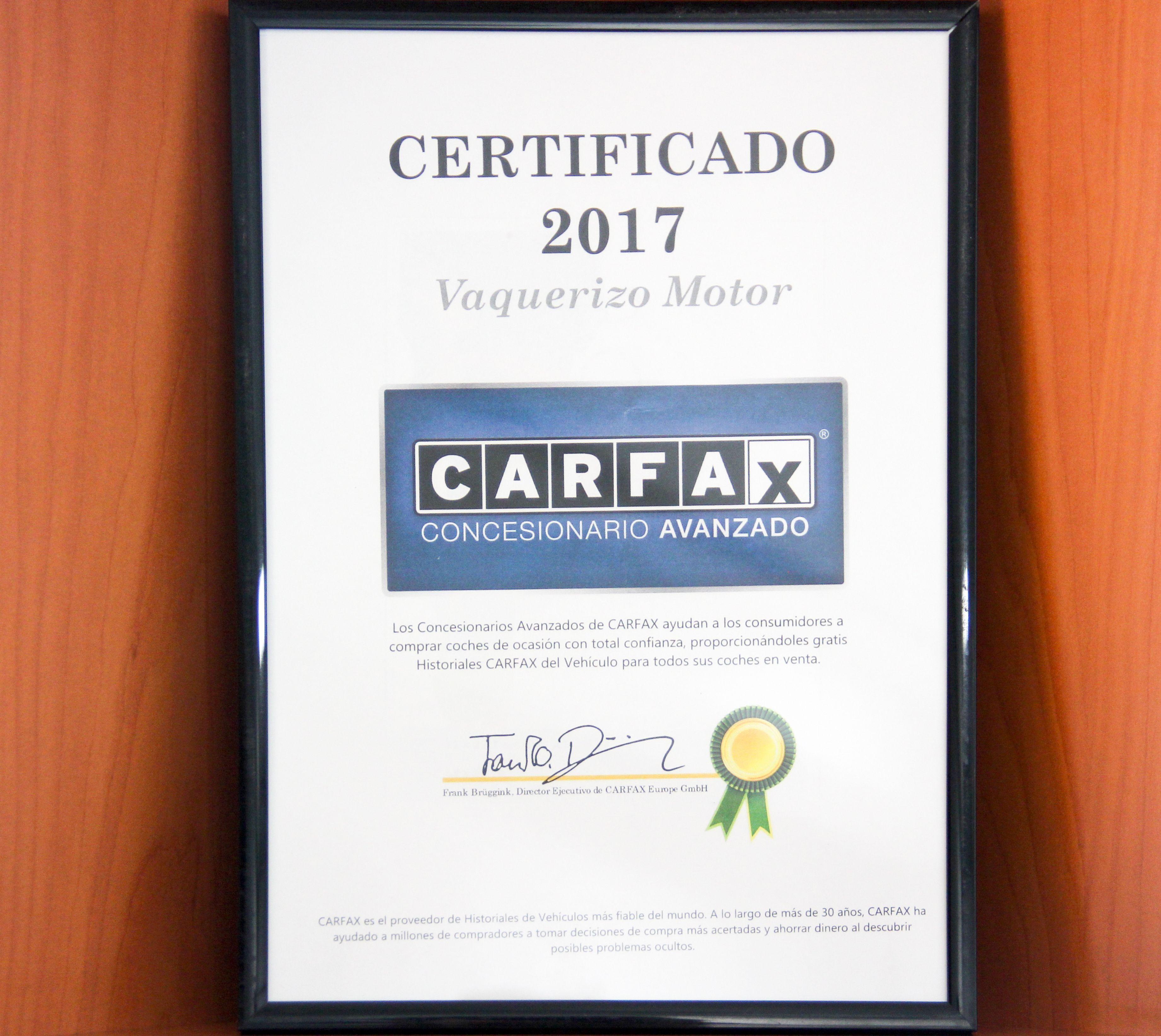 Certificado 2017  Vaquerizo Motor