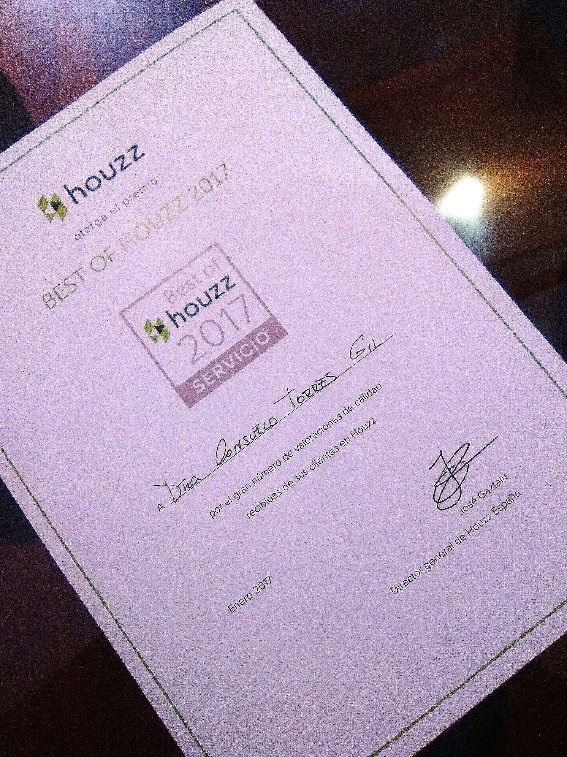 """Premio Houzz 2017 """"Servicio al cliente"""""""