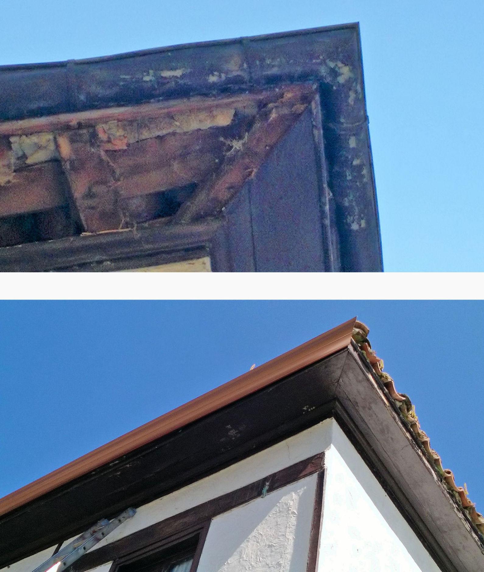 Antes y después de colocación de canalón de semicírculo continuo de aluminio