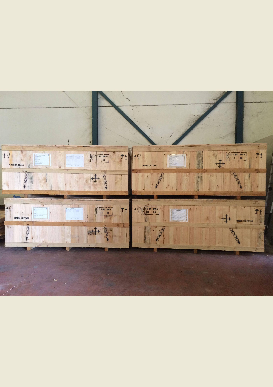 Embalaje tipo caja terrestre, cajas remontables preparadas para contenedores