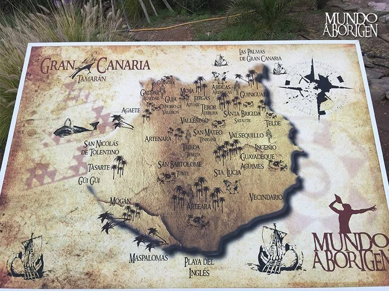 Map of the island of Gran Canaria in the times of the aborigines