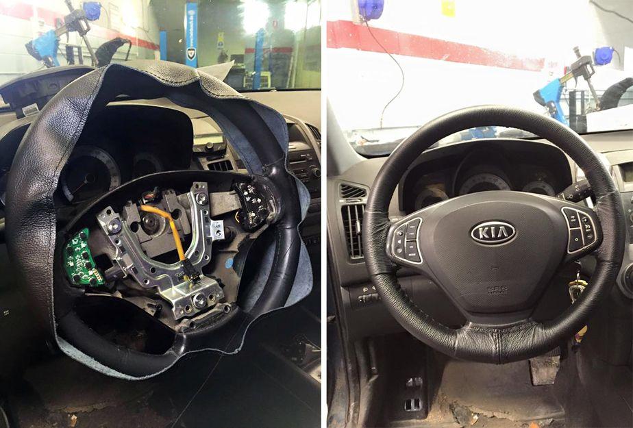 Sustitución del cuero dañado del volante de un vehículo