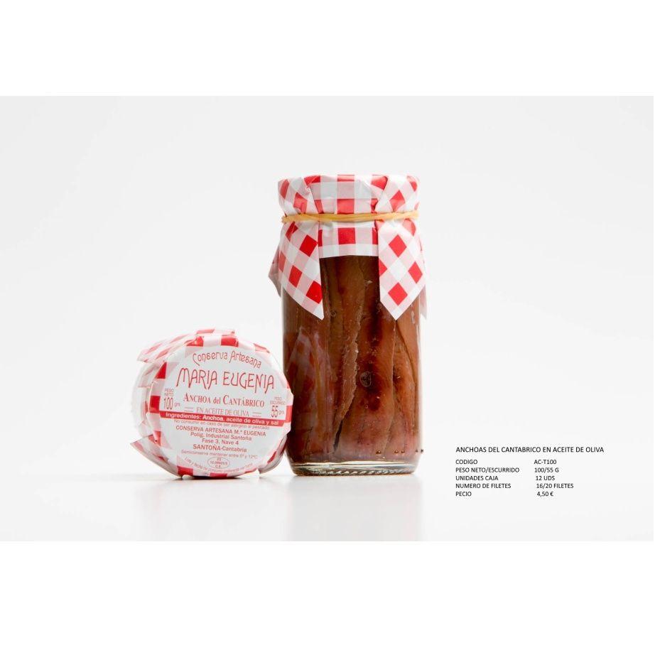 Anchoas del Cantábrico en aceite de oliva: Productos de Conservas Artesanas María Eugenia