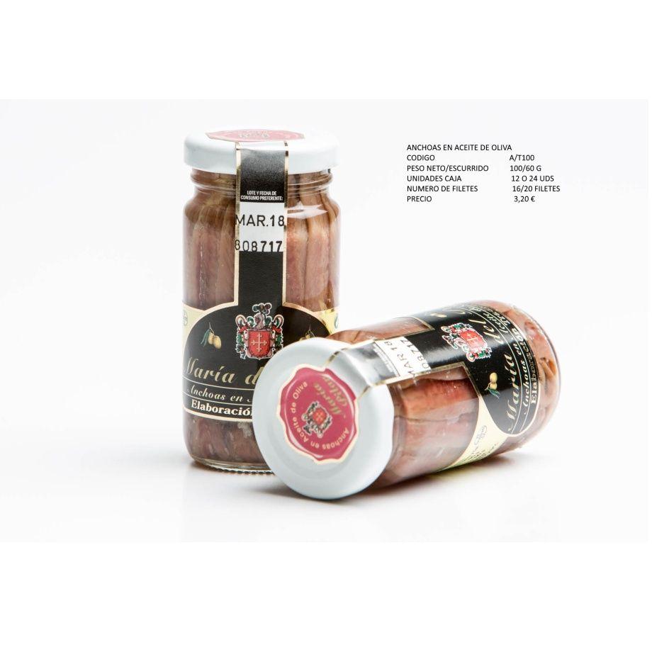 Anchoas en aceite de oliva. Formato tarro cristal: Productos de Conservas Artesanas María Eugenia