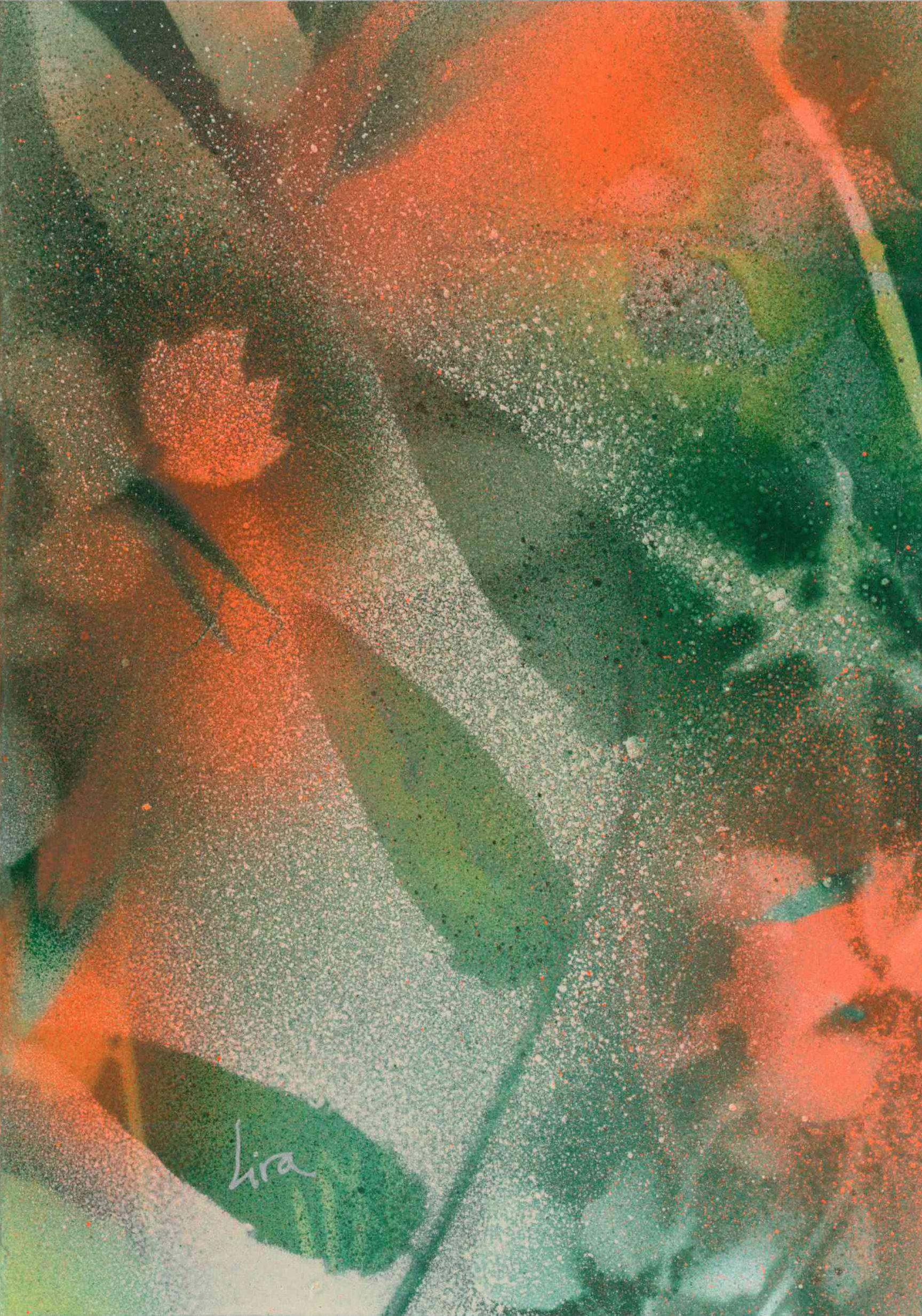 "Tarjeta original pintada por Lira titulada ""Naturaleza""."