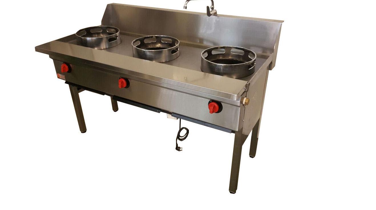 Cocina Con Wok | Cocina Wok 3 Quemadores En Linea Productos De Wok Inox