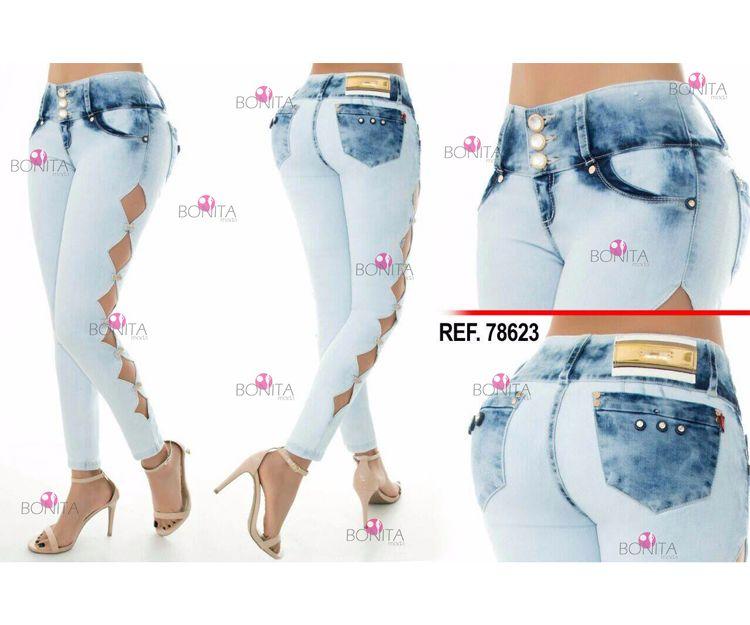 Pantalones vaqueros con motivos laterales