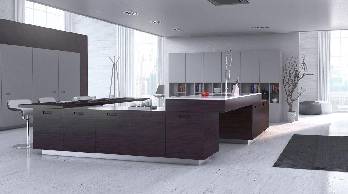 Muebles de cocina rechapados en madera de nogal