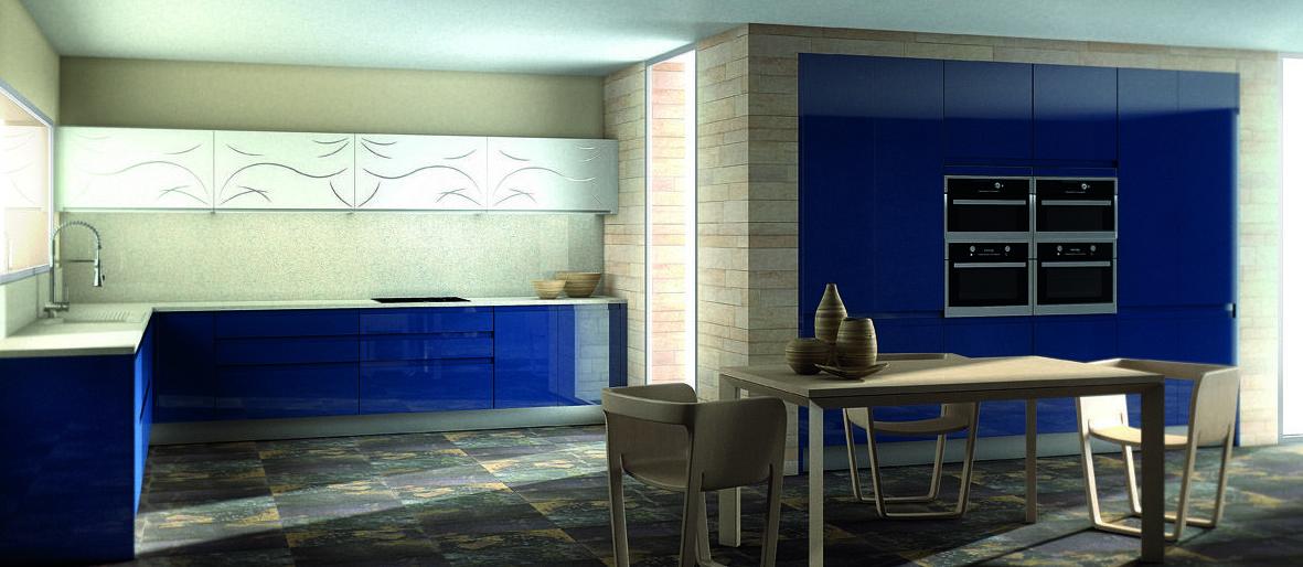 Muebles de cocina lacado modelo Lisboa azul