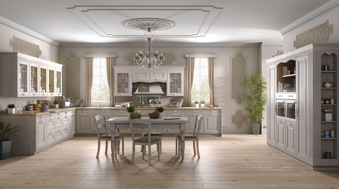 Muebles de cocina en madera estilo clásico modelo Amira
