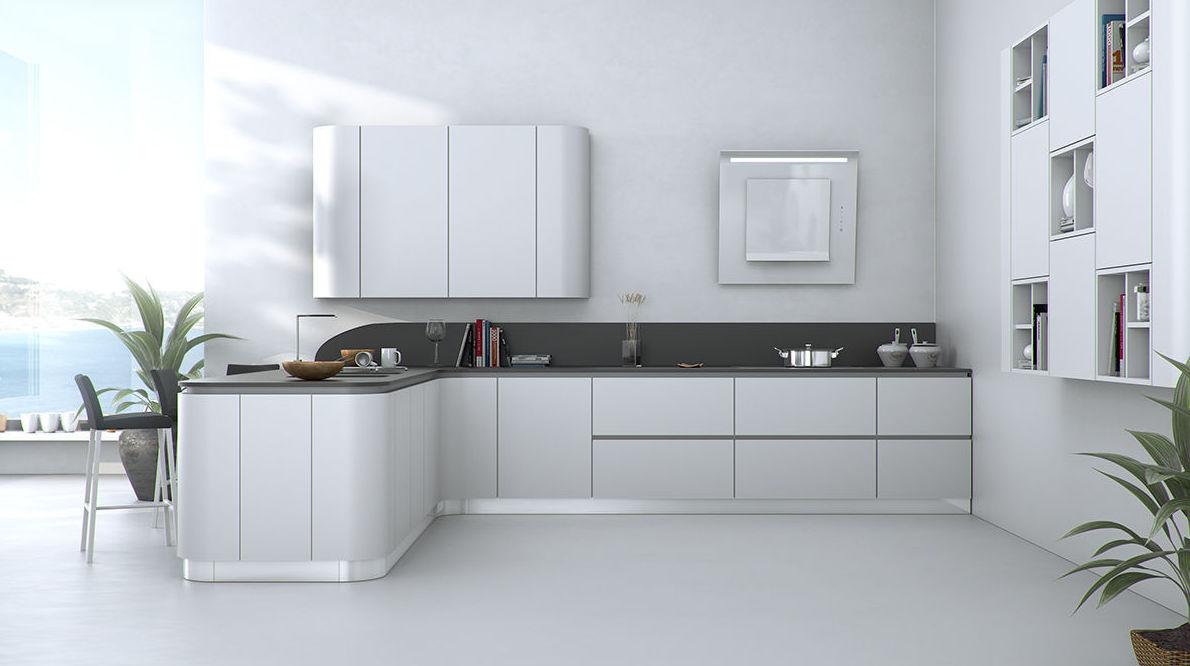 Muebles de cocina modelo Laca seda curvado con gola