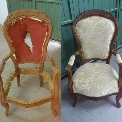 Sillón (antes y después de la restauración)