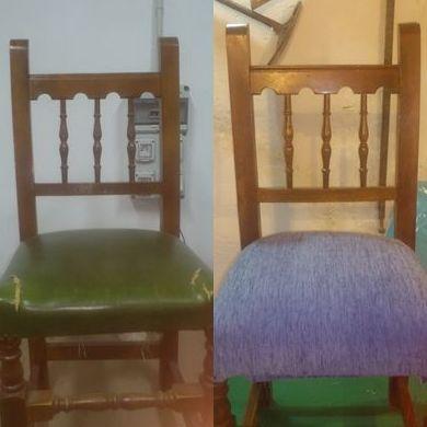 Silla (antes y después del tapizado)