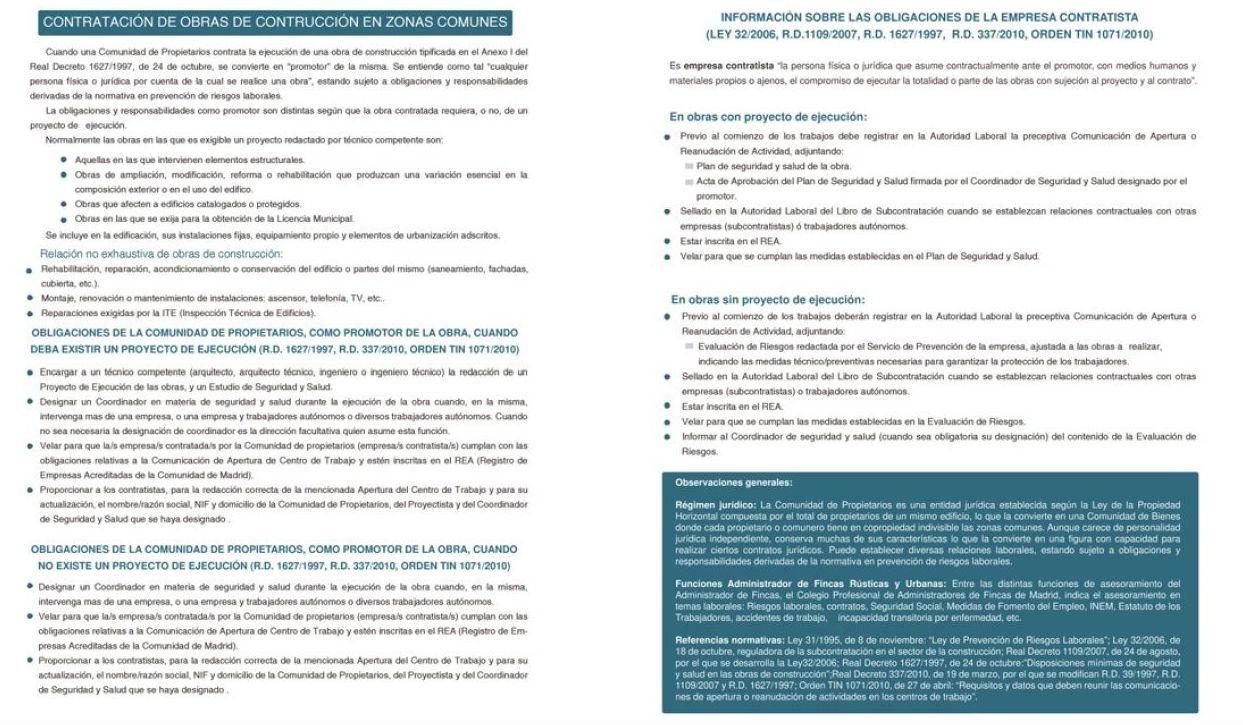 OBLIGACIONES COMUNIDADES DE PROPIETARIOS COMO CONTRATISTAS