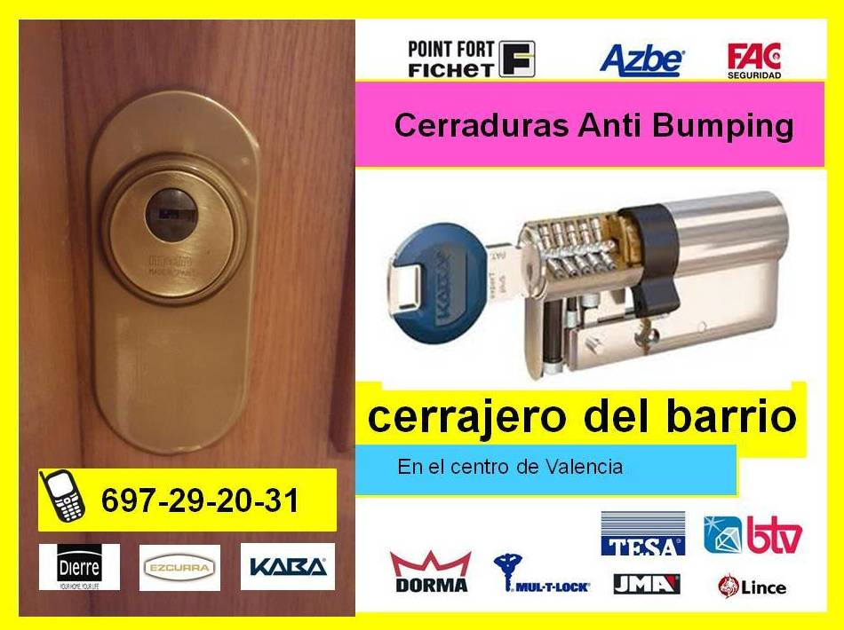 Bombillo antibumping Valencia, Cerradura antibumping Valencia, Antibumping Valencia, Cerrajeros Valencia