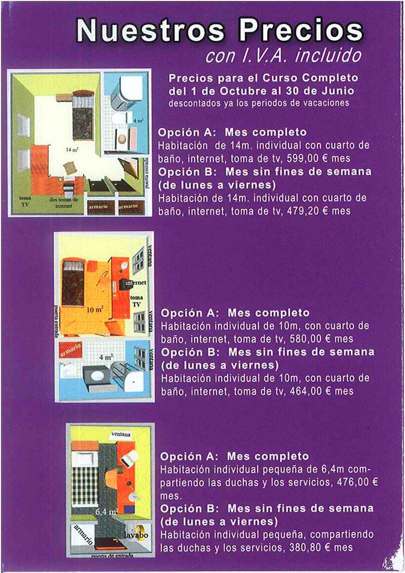 Precios curso 2020-21: SERVICIOS QUE OFRECEMOS de Residencia Universitaria Don Bosco