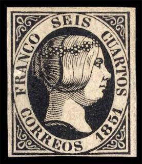 Sello de Isabel II de  seis cuartos