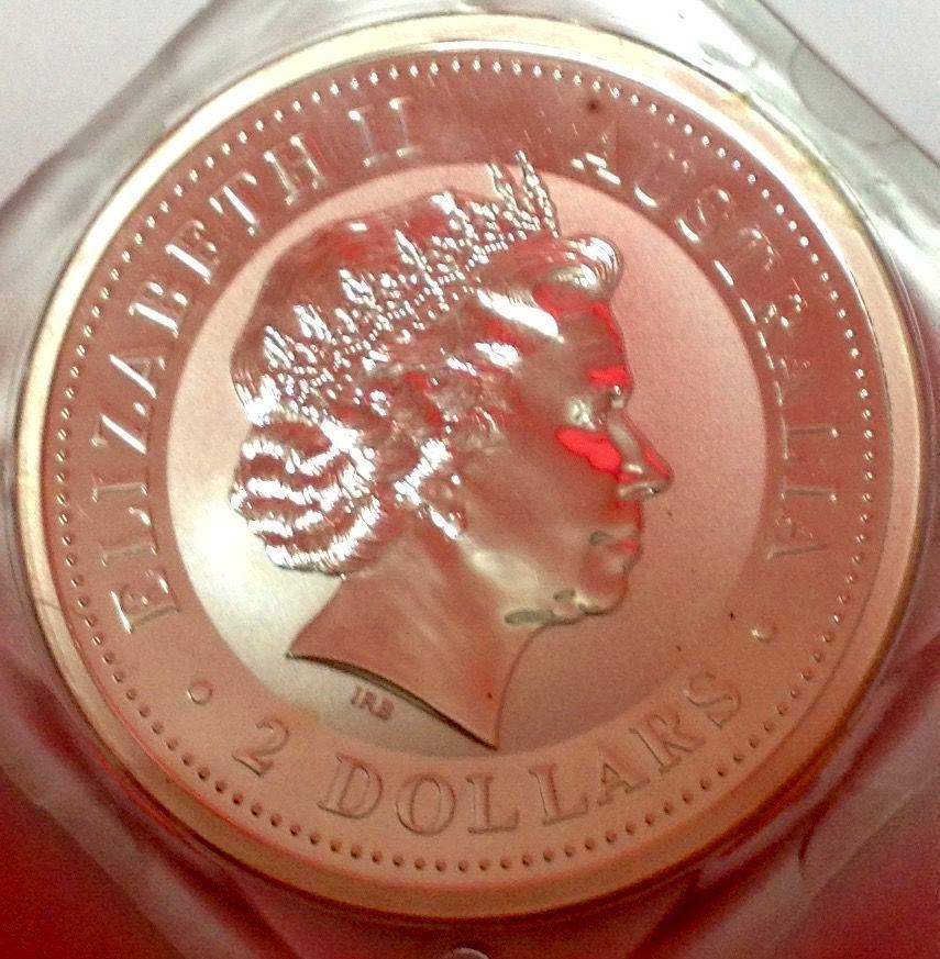 MONEDA DE DOS DÓLARES  AUSTRALIA .PESO 2 ONZAS DE PLATA  DE LEY DE 999 .AÑO 1999 . PRECIO 70 EUROS.