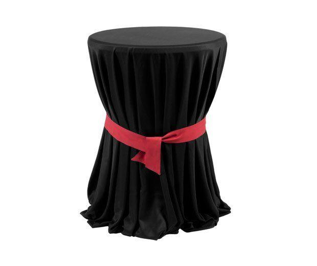 Mesa alta vestida en negro con lazo: Alquiler de Mantelería & Menaje