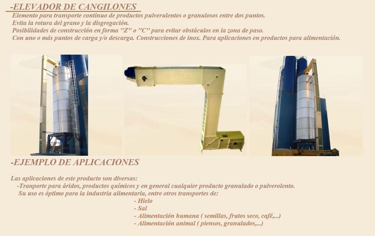 Fabricación de Elevadores de canjilones (Tranporte continuo de productos entre dos puntos)