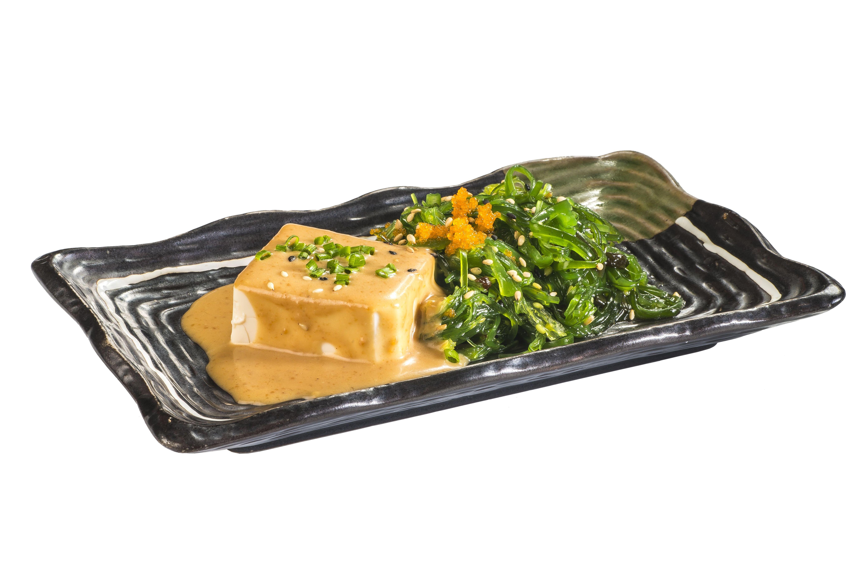 Tofu con salsa cacahuete y Wakame  4,50€: Carta de Restaurante Sowu