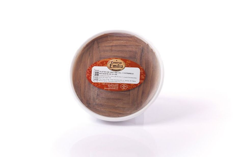 Filetes de Anchoa del Cantábrico en aceite de oliva 430 g 50 Filetes: Productos de El Racó del Bierzo