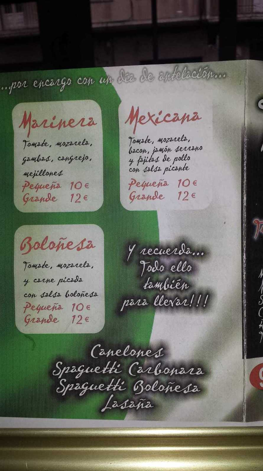 CAFETERÍA - PIZZERÍA TERRA MEIGA - ENCARGOS