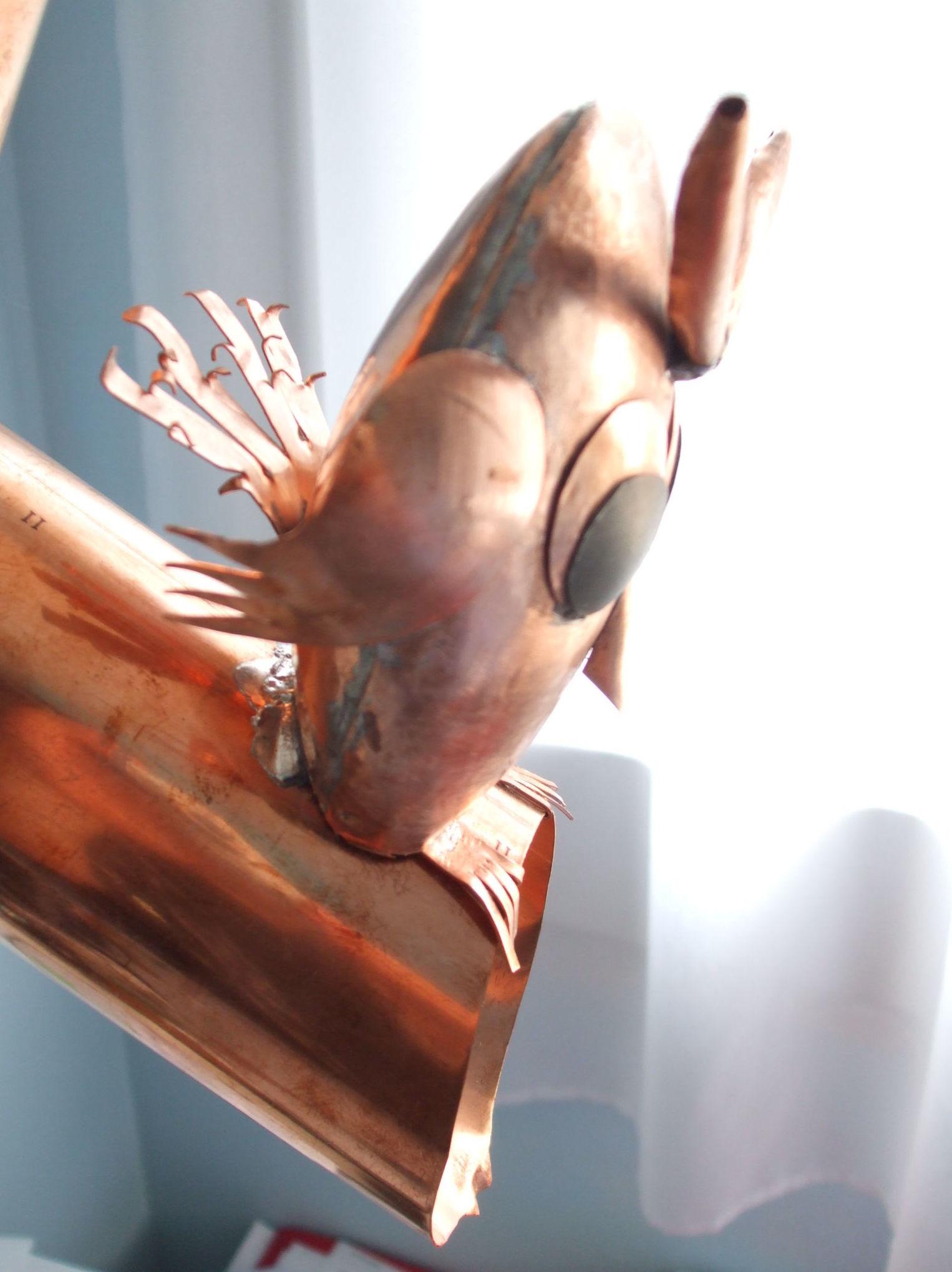 Gárgola buho de cobre