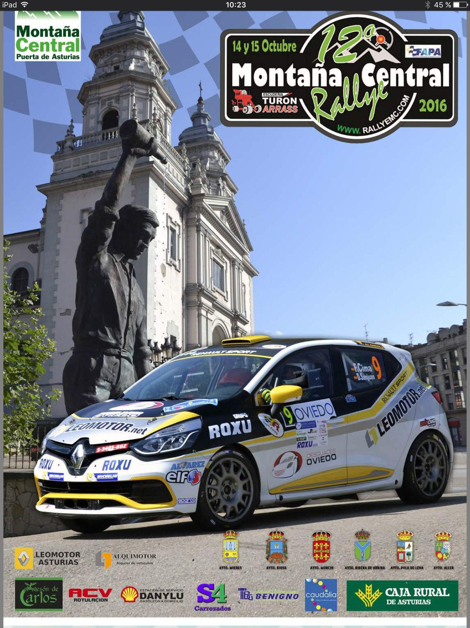 El Rally Montaña Central de Asturias  2016 cuenta con la participación de un vehículo adaptado por Cabal Automoción  Jonathan Francos Ares participa hoy en el Rally Montaña Central con un Peugeot 106 adaptado por Cabal Automoción