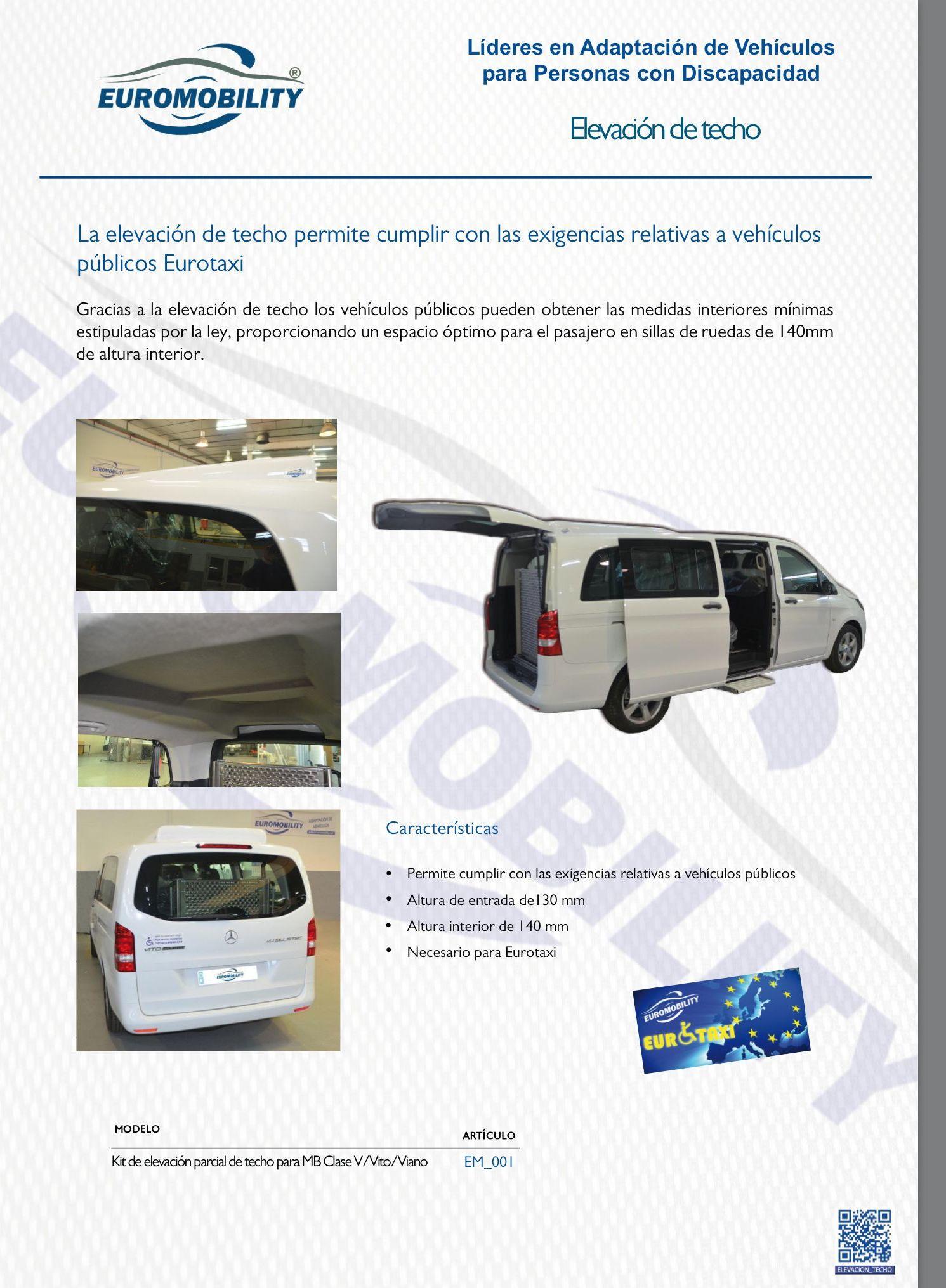 Elevación de techo Mercedes Clase V. Adaptación de Vehículos en Asturias