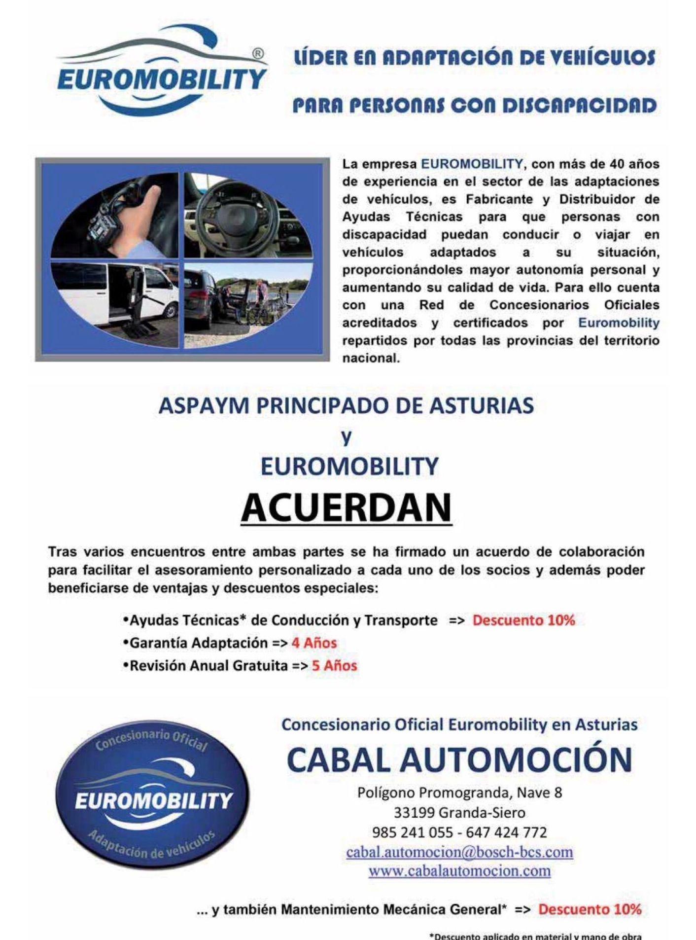 Acuerdo de colaboración entre Aspaym Asturias, Cabal Automoción Bosch Car Service y Euromobility