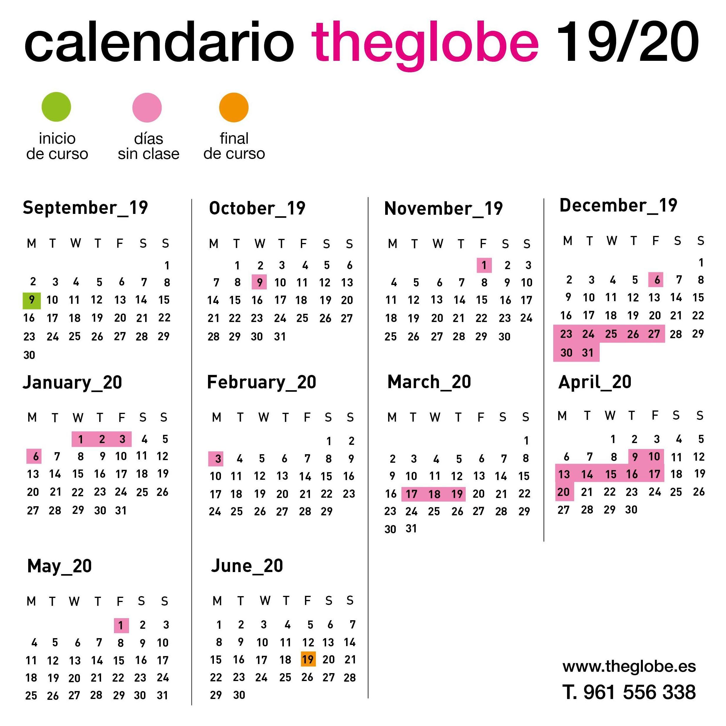 Calendario de este curso
