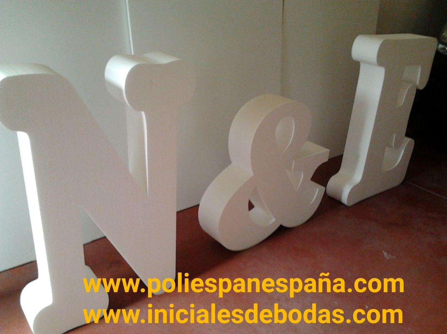 INICIALES Y LETRAS 3D DE POREXPAN PARA BODAS Y EVENTOS