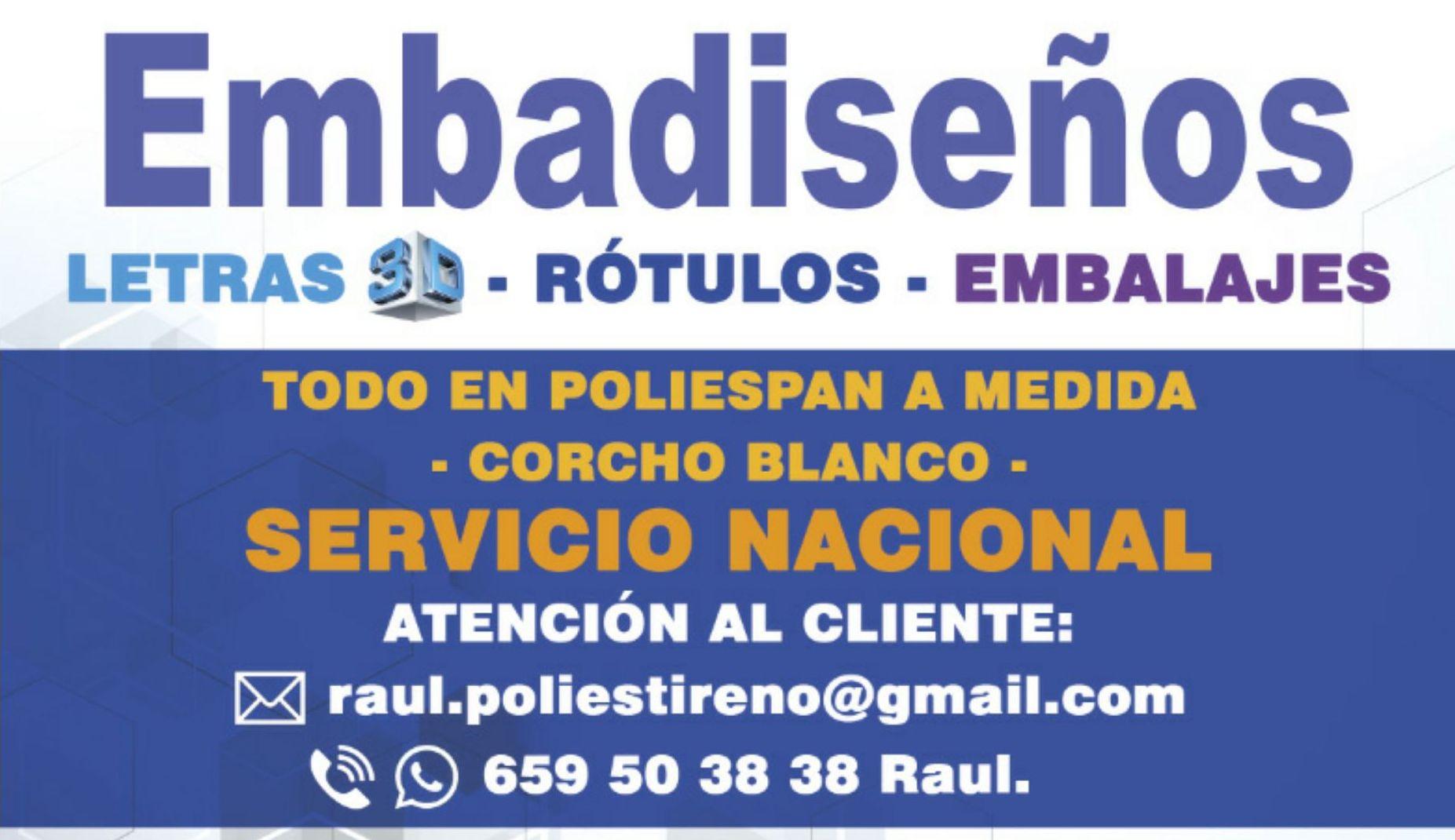 EMBALAJES,INICIALES Y LETRAS 3D GIGANTES DE POLIESPAN A MEDIDA ( CORCHO BLANCO DE ALTA DENSIDAD )