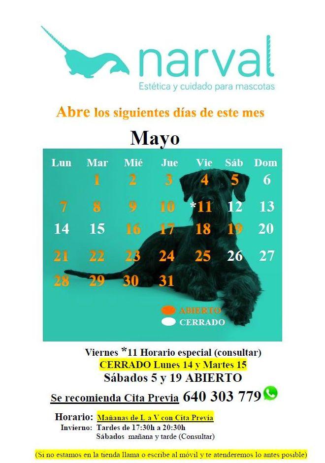Narval Mascotas peluquería canina Leganés | MAYO 18