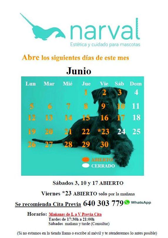 CALENDARIO JUNIO 17 | Narval Mascotas peluquería canina y felina en Leganes
