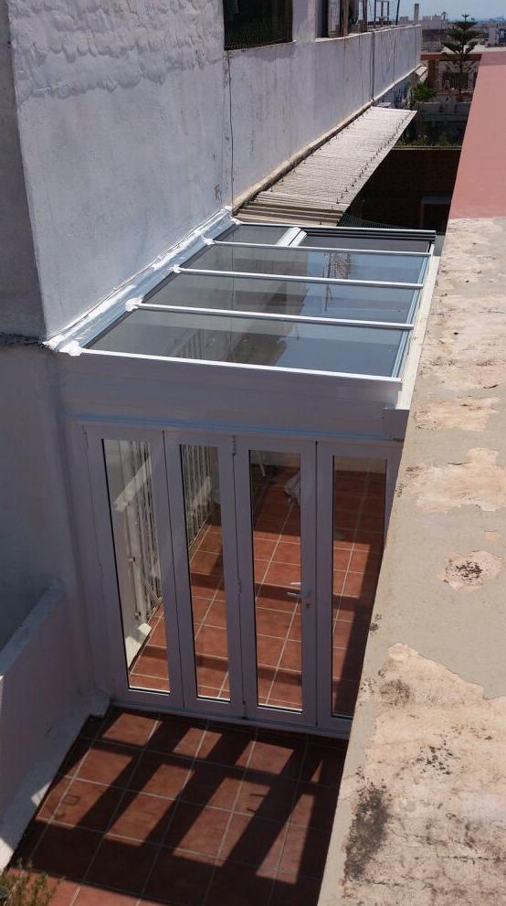 Techo fijo de cristal unido a techo deslizante más plegable de aluminio