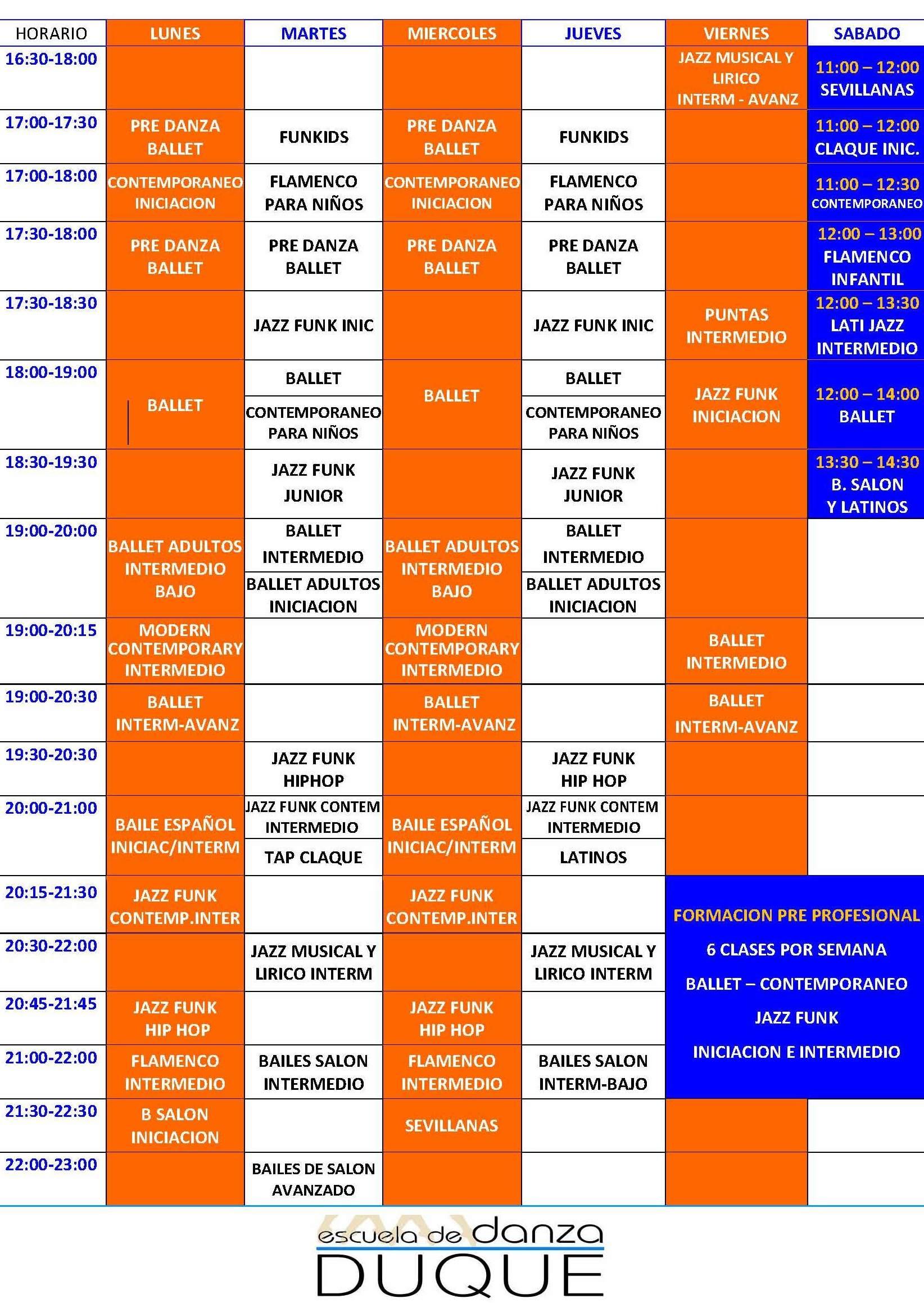 Horarios: Clases de Escuela de Danza Duque