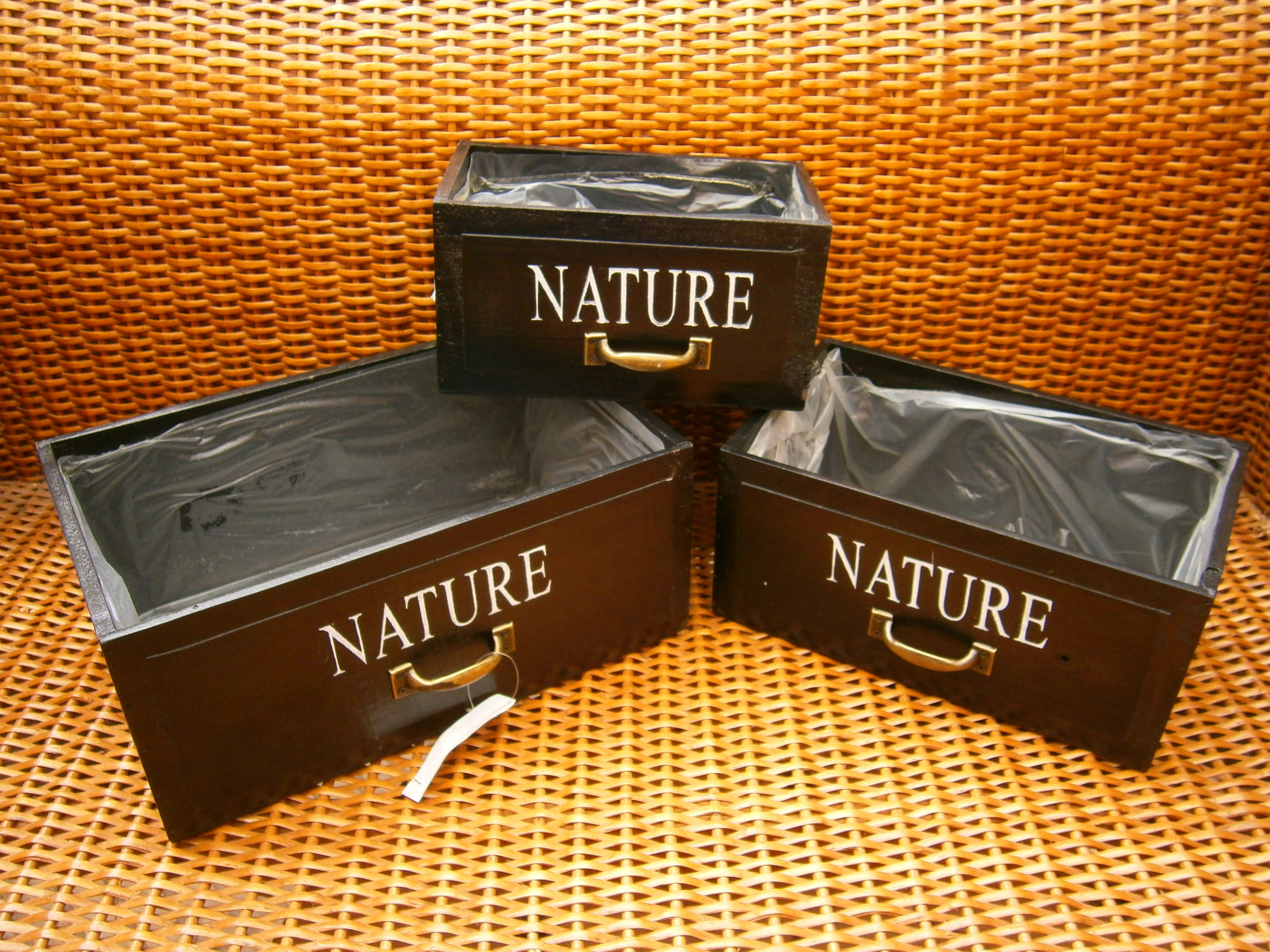 LOTE 3 CAJAS NATURE ASA METAL COLOR NEGRO G32X20X14