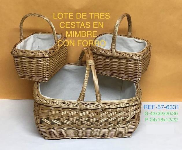 57-6331 LOTE 3 CESTAS ASA FORRADA G42X35X20 P23X18X13