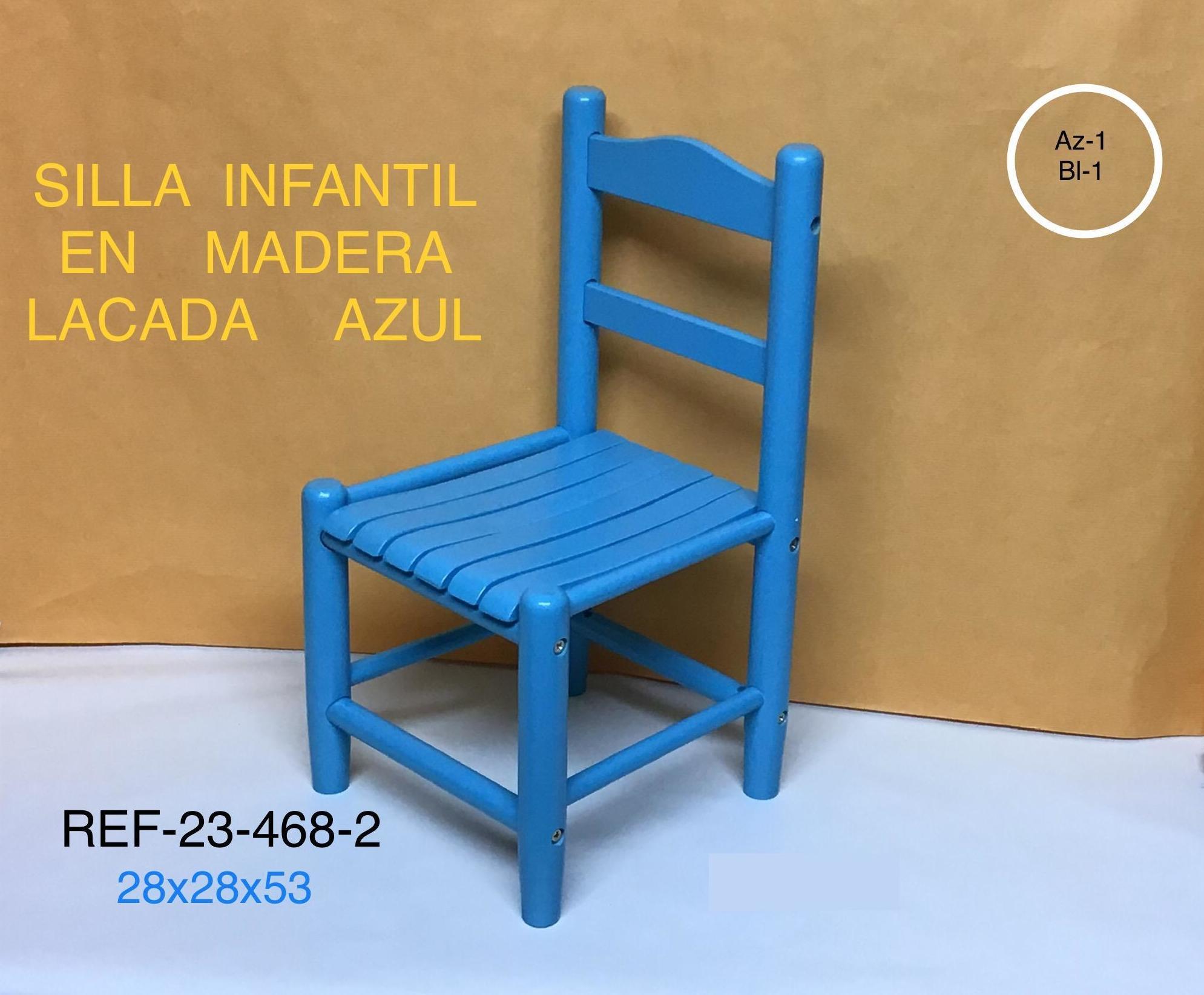 SILLA INFANTIL MADERA AZUL 28X28X54