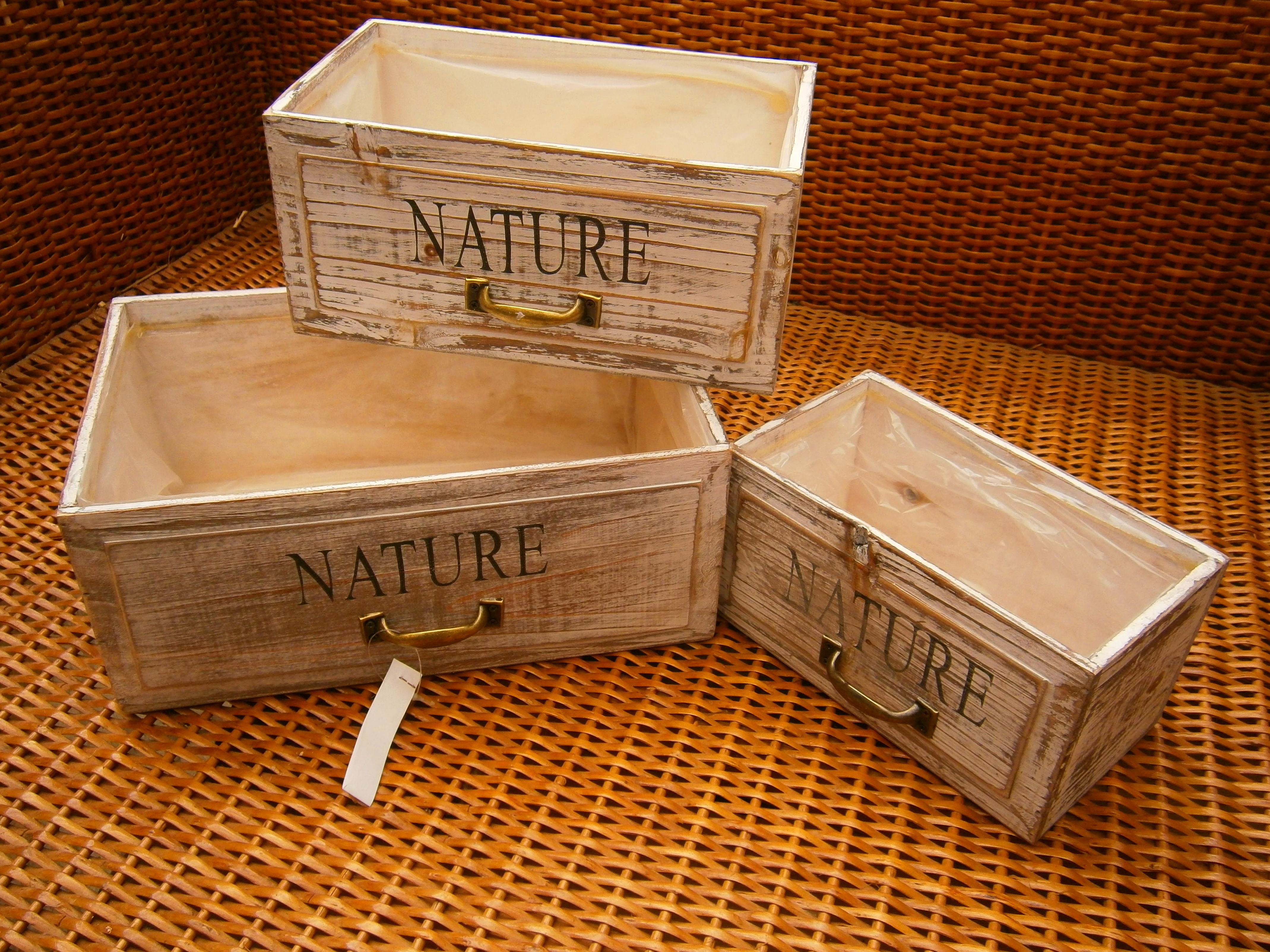LOTE 3 CAJAS NATURE ASA METAL COLOR BLANCO DECAPE G32X20X14