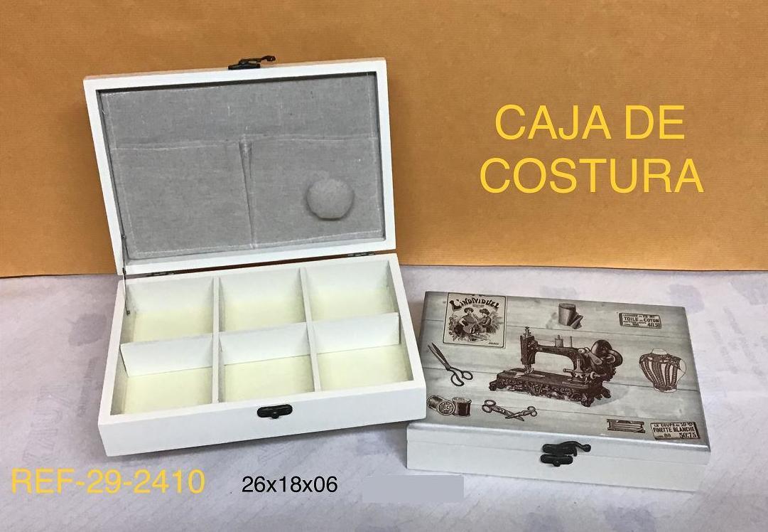 CAJA COSTURA MADERA DECORADA 26X18X6