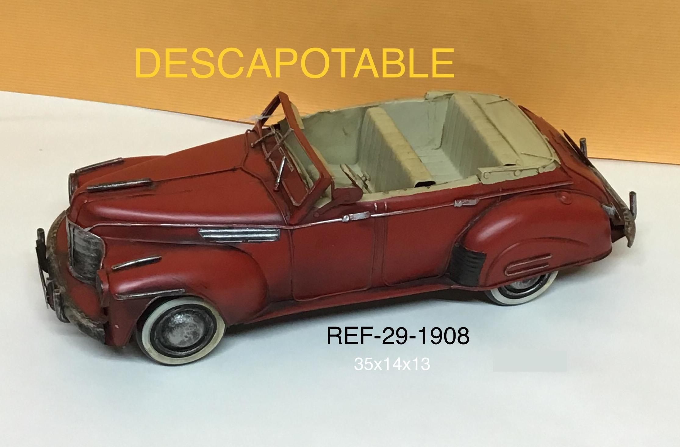 COCHE METAL DESCAPOTABLE ROJO 35X14X13