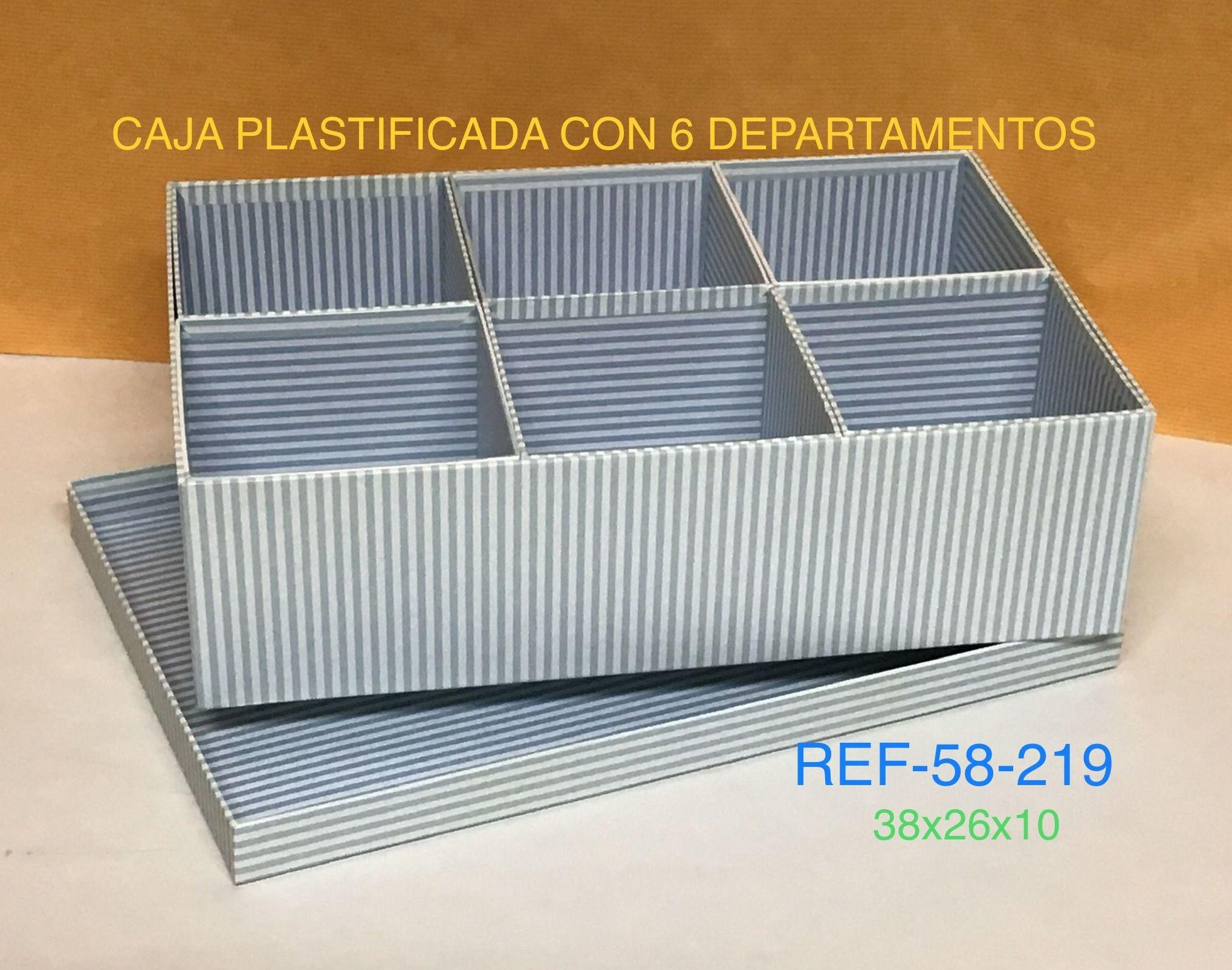 58-219 CAJA PLASTIF. 6 HUECOS RAYAS AZUL 36,5X26,5X11