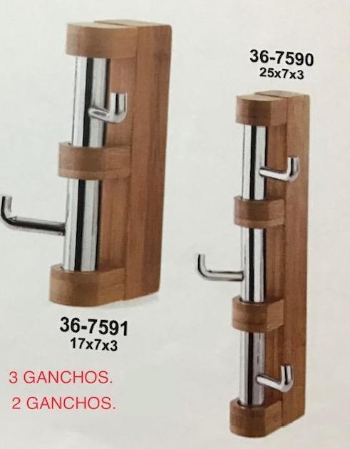 PERCHERO 2 Y 3 GANCHOS MADERA
